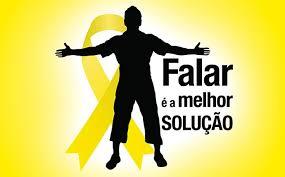 """Desenho da silhueta de uma pessoa com os braços abertos na frente de uma fita amarela, símbolo do setembro amarelo. Ao seu lado está escrito """"Falar é a melhor solução"""""""